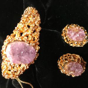 Panetta raw Amethyst Brutalist bracelet/earrings